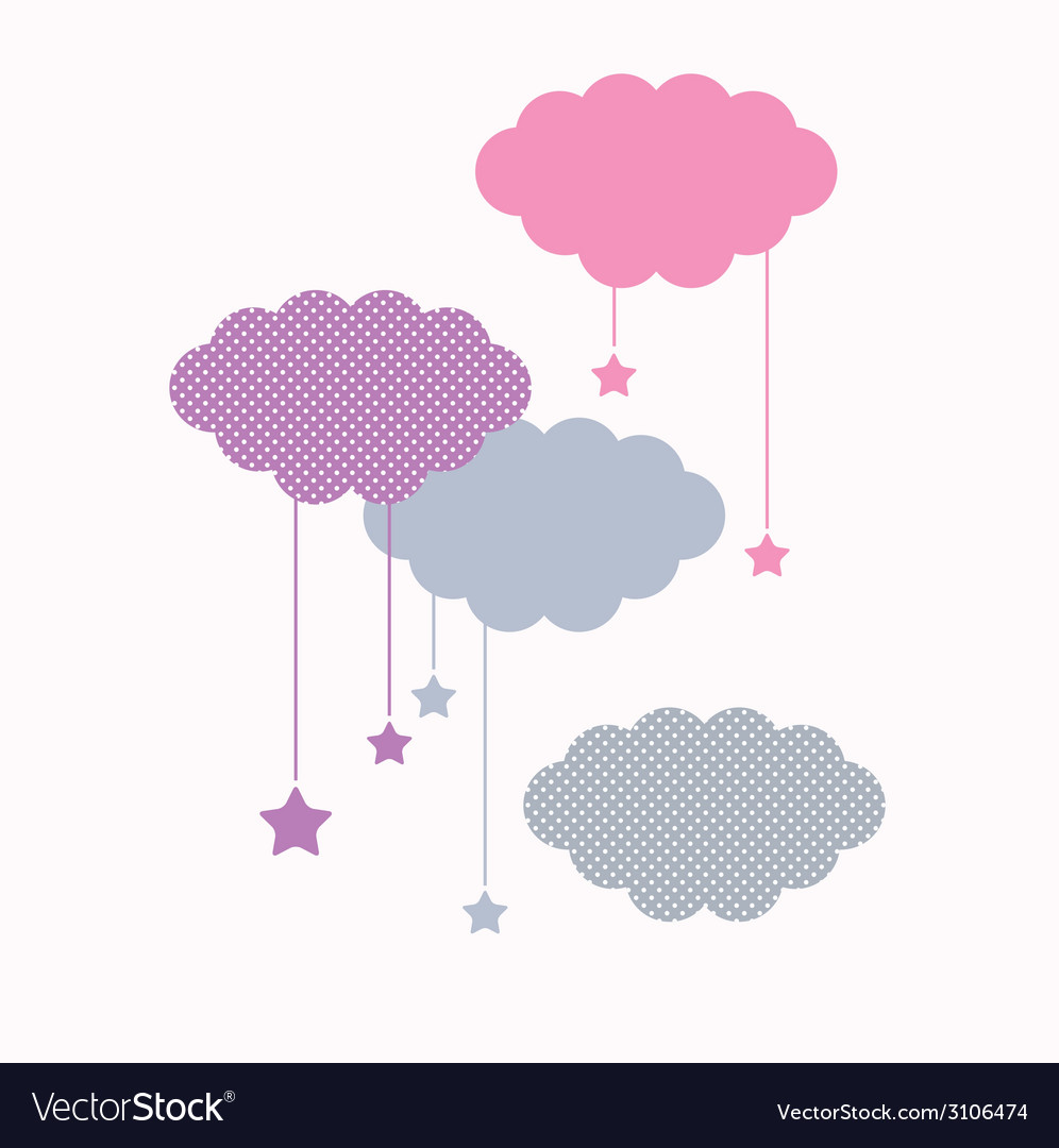 Beautiful cute sleeping clouds with stars vector | Price: 1 Credit (USD $1)
