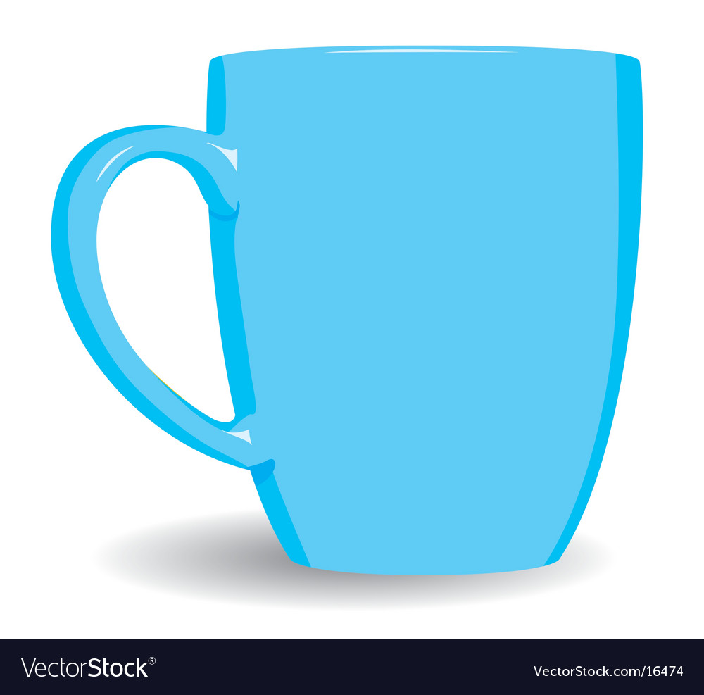 Blue mug on white background vector | Price: 1 Credit (USD $1)