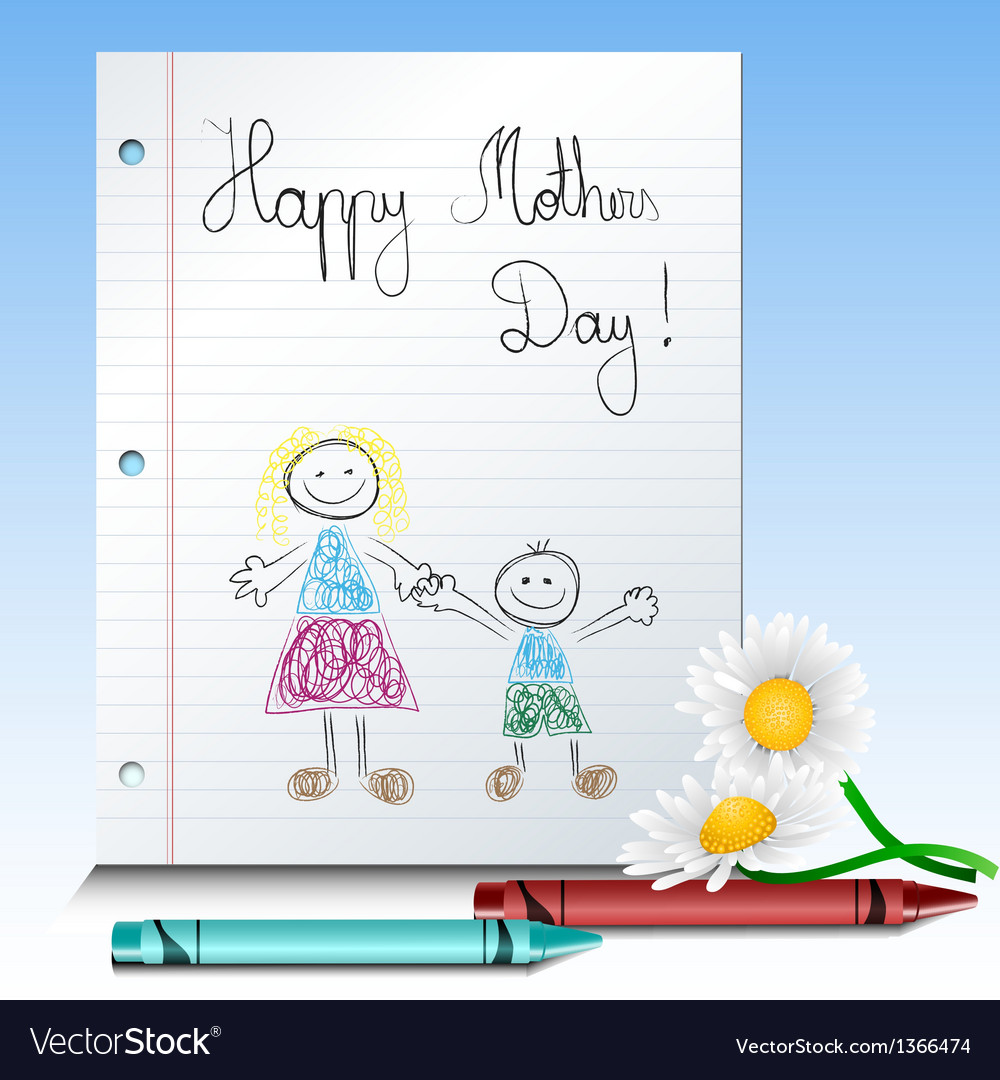 Children drawing for mothers day vector | Price: 1 Credit (USD $1)