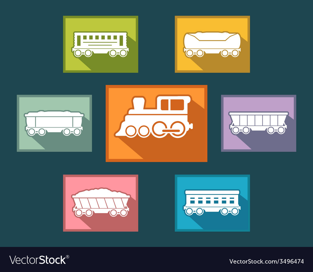Colorful rail road icons set vector | Price: 1 Credit (USD $1)