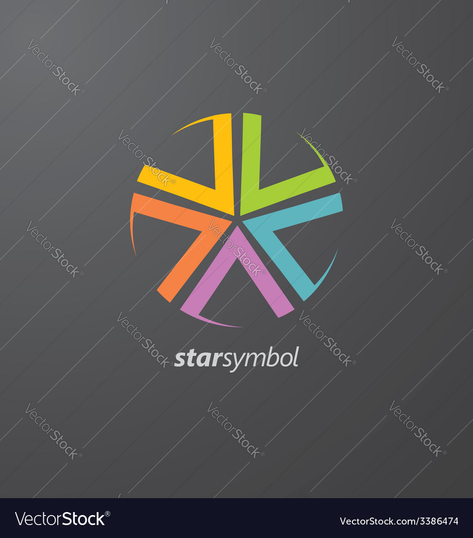 Colorful star logo elements vector | Price: 1 Credit (USD $1)