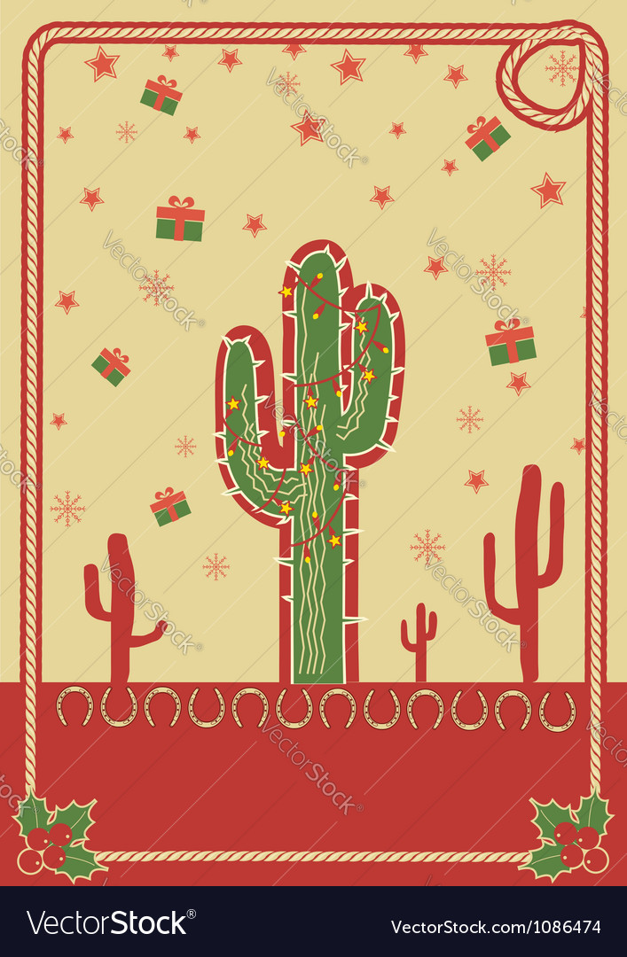 Cowboy christmas poster with cactus and rope frame vector | Price: 1 Credit (USD $1)