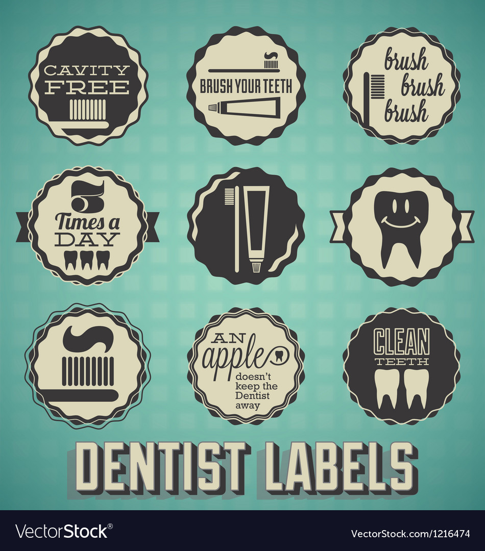 Dentist labels and icons vector | Price: 1 Credit (USD $1)