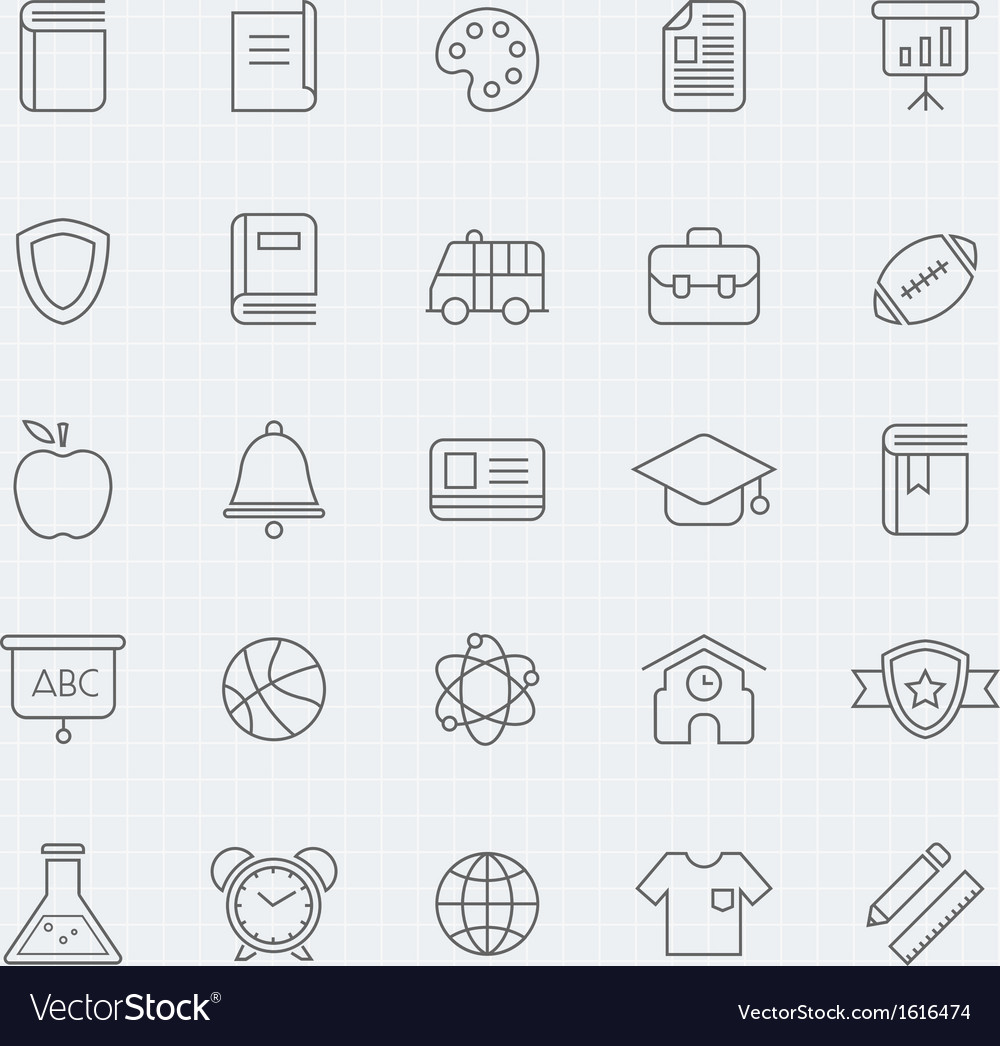 Education thin line symbol icon vector | Price: 1 Credit (USD $1)