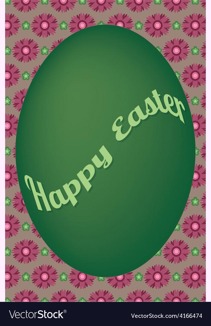 Green egg easter card on violet flower pattern vector | Price: 1 Credit (USD $1)