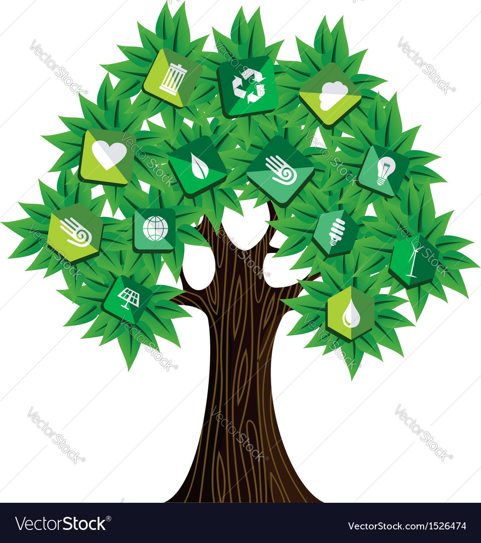 Green resources concept tree vector | Price: 1 Credit (USD $1)