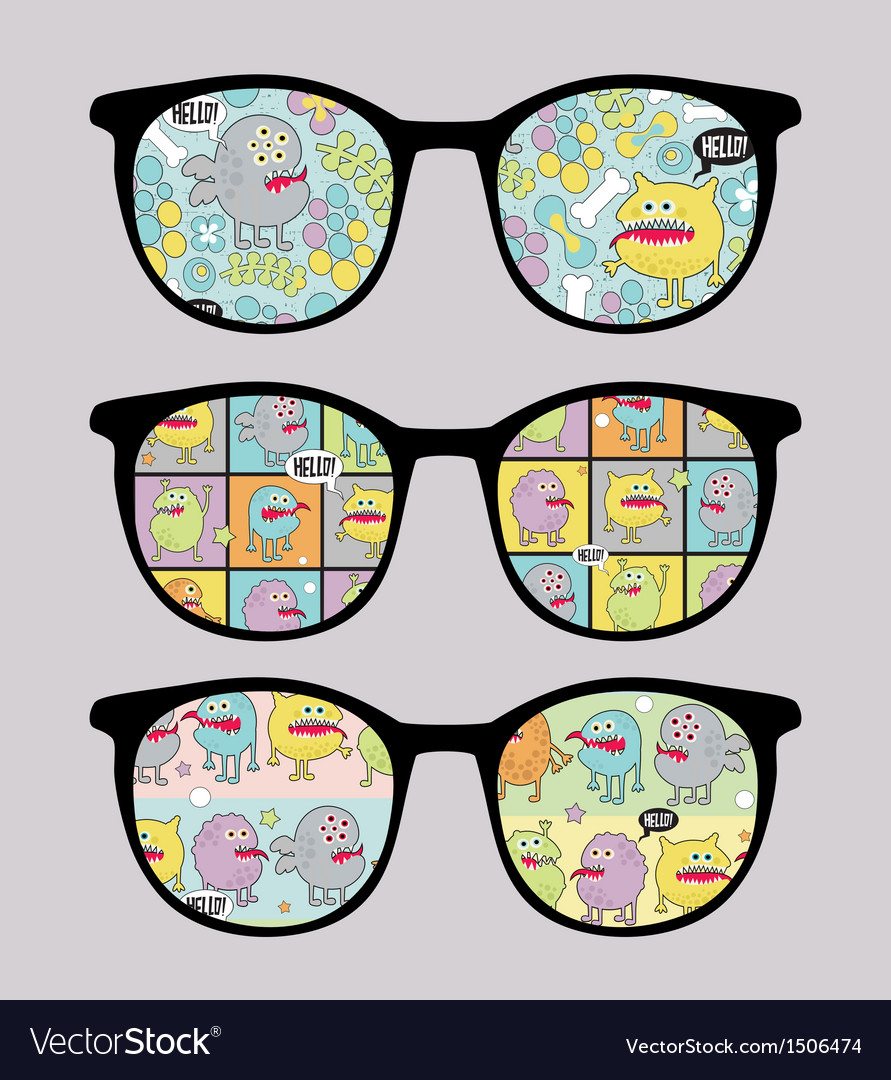 Retro sunglasses with monsters reflection vector | Price: 1 Credit (USD $1)