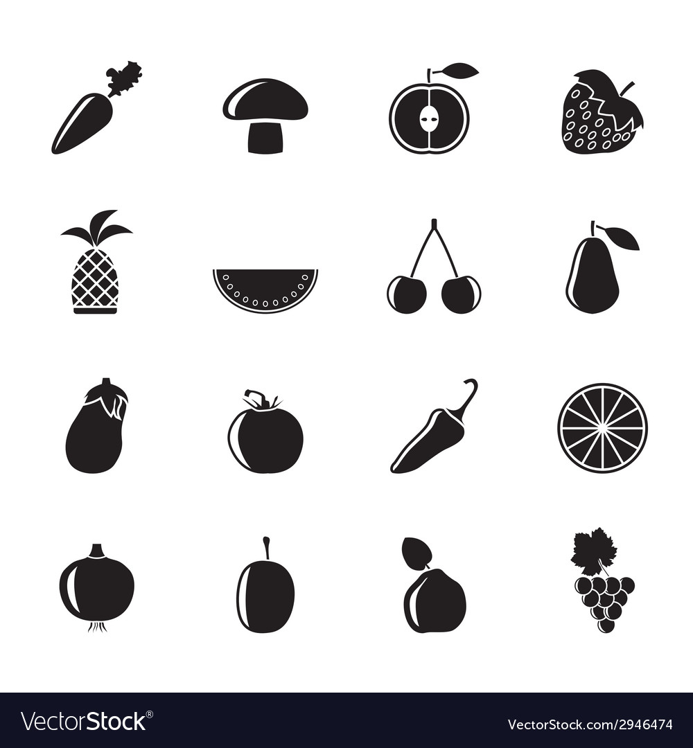 Silhouette different kinds of fruits and vegetable vector | Price: 1 Credit (USD $1)
