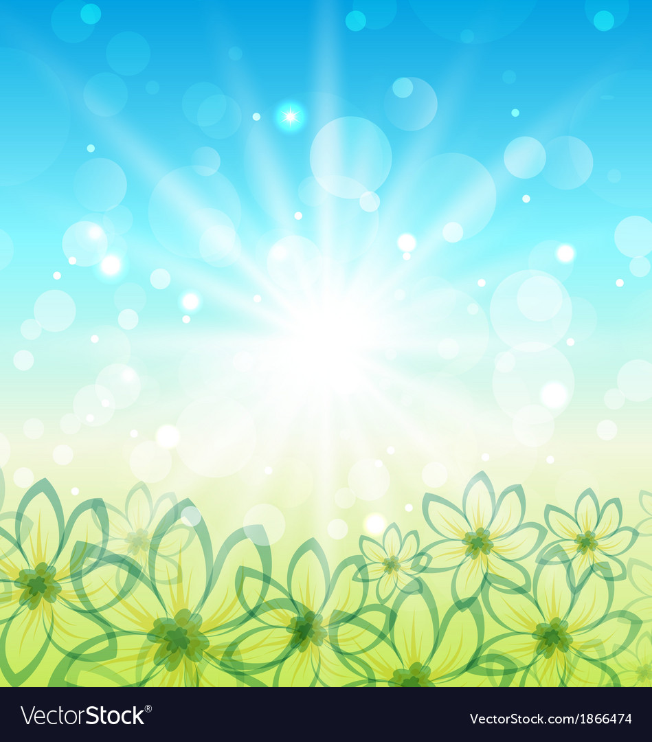 Spring nature background with flowers vector | Price: 1 Credit (USD $1)