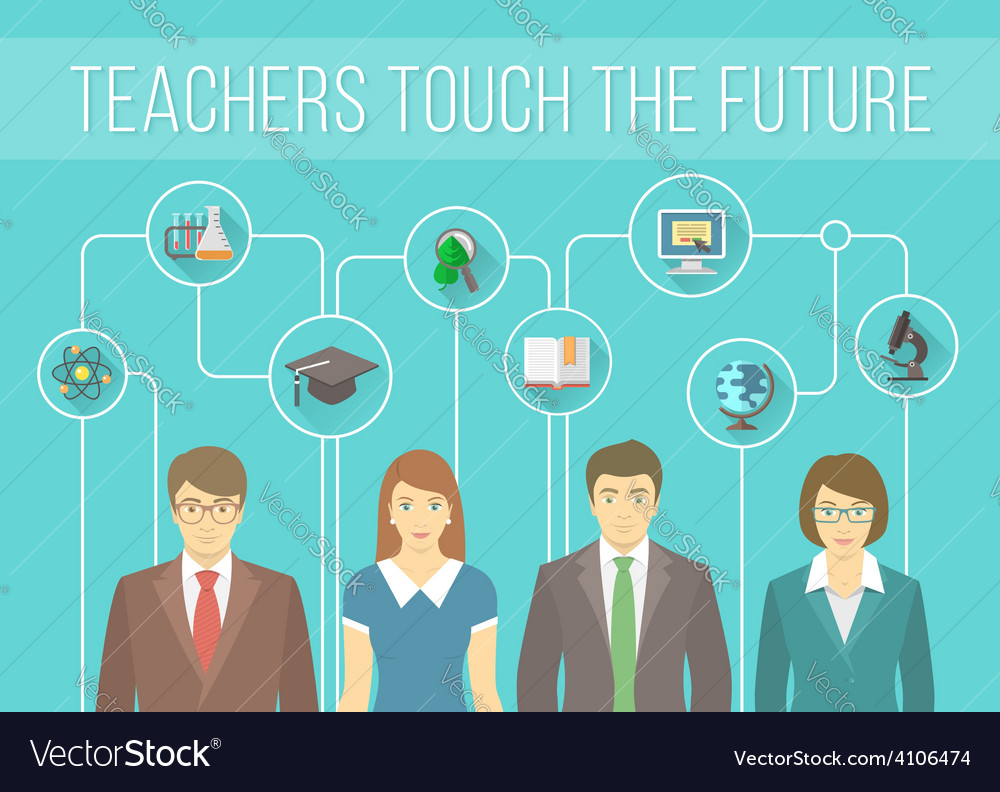 Teachers team with educational icons vector | Price: 1 Credit (USD $1)