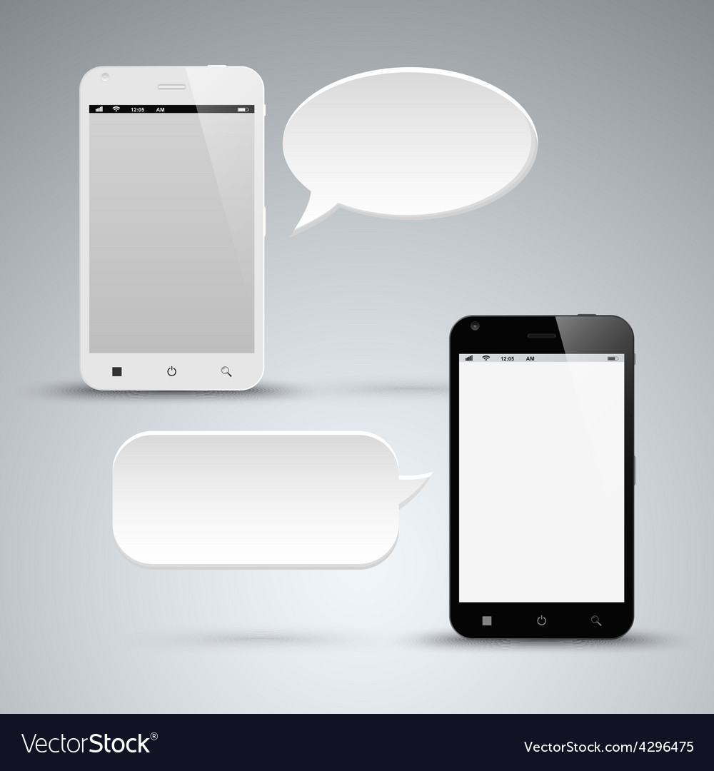 Abstract black and white smart phone with dialog vector | Price: 1 Credit (USD $1)