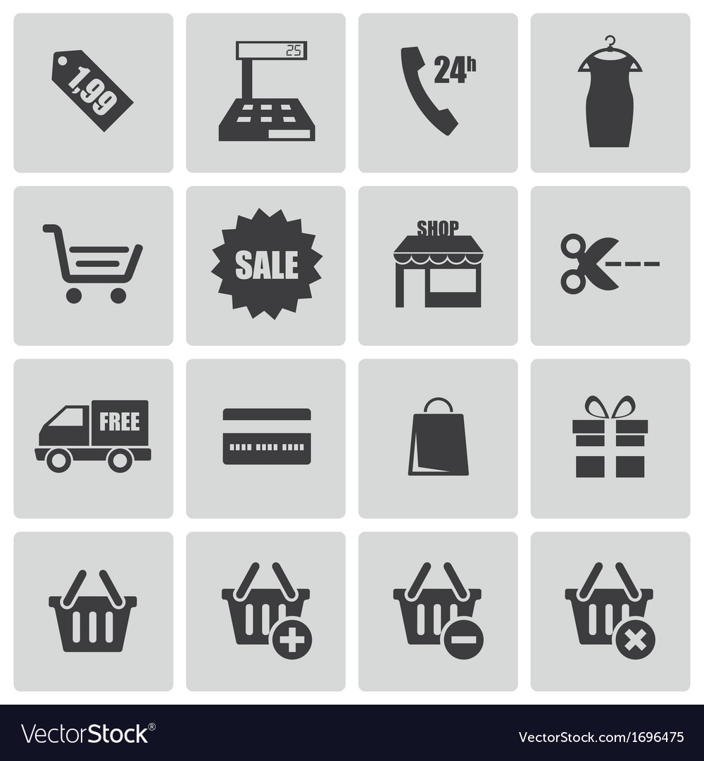 Black shopping icons set vector