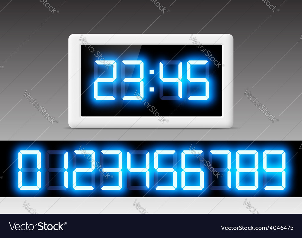 Digital clock with a set of numbers vector | Price: 1 Credit (USD $1)