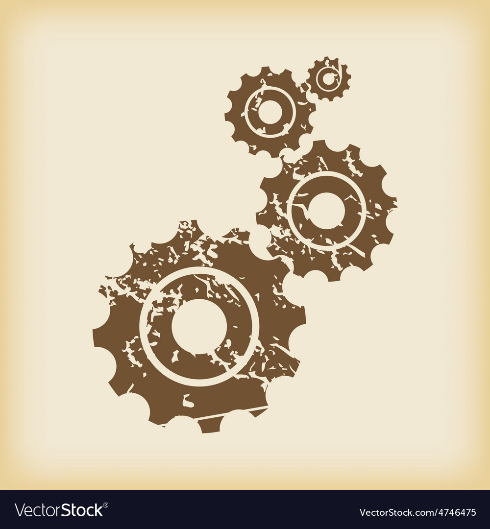 Grungy gears icon vector | Price: 1 Credit (USD $1)
