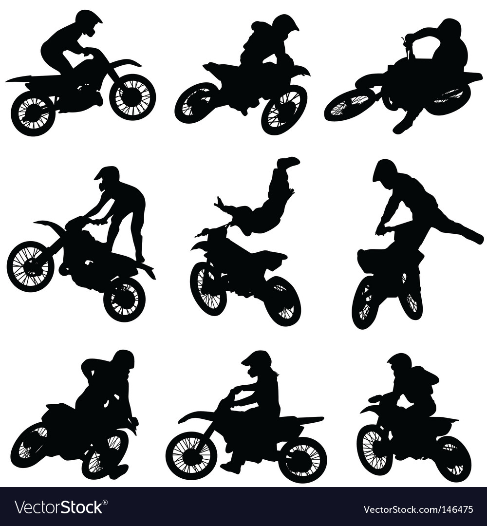 Motor cross freestyle set vector | Price: 1 Credit (USD $1)