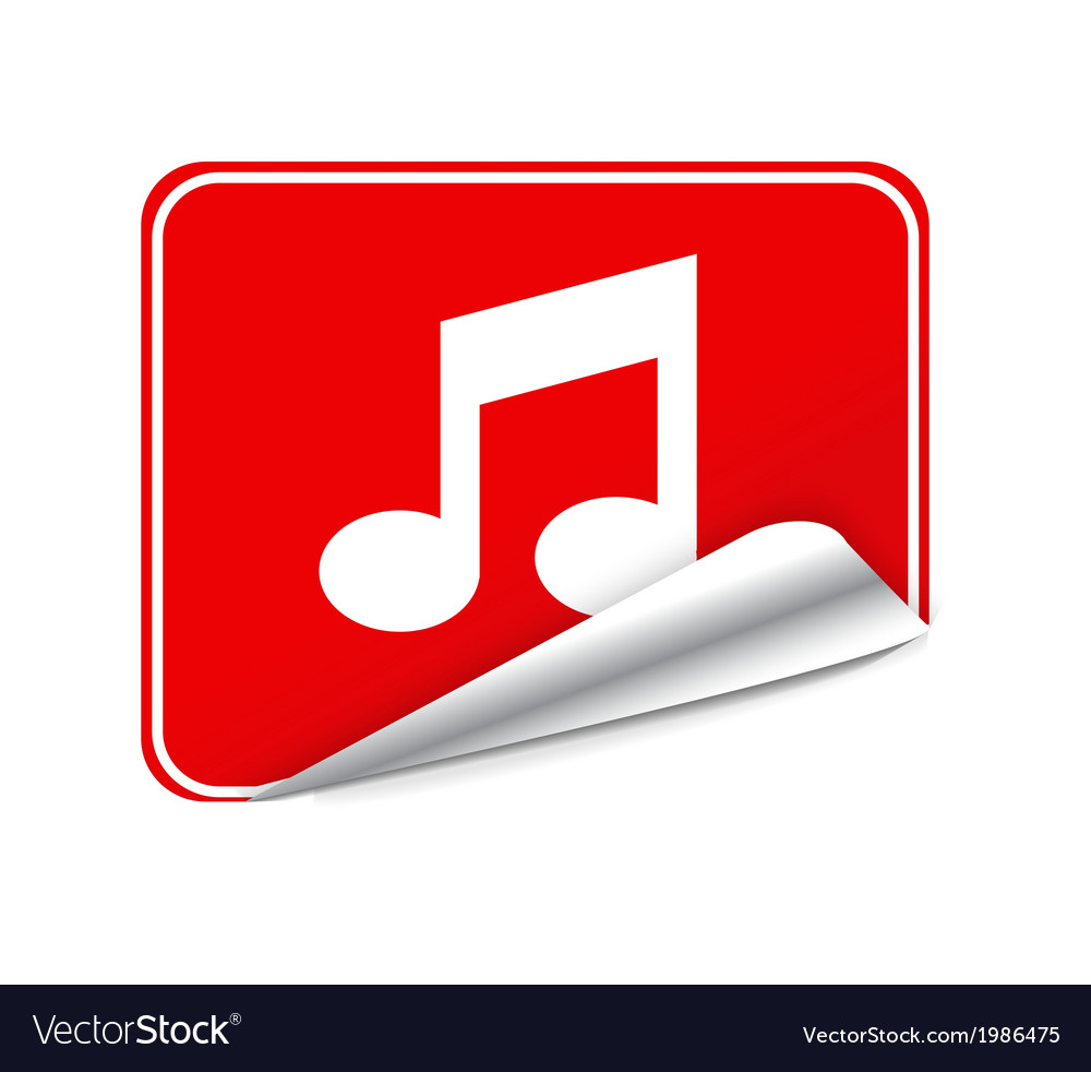 Red sticker music vector | Price: 1 Credit (USD $1)