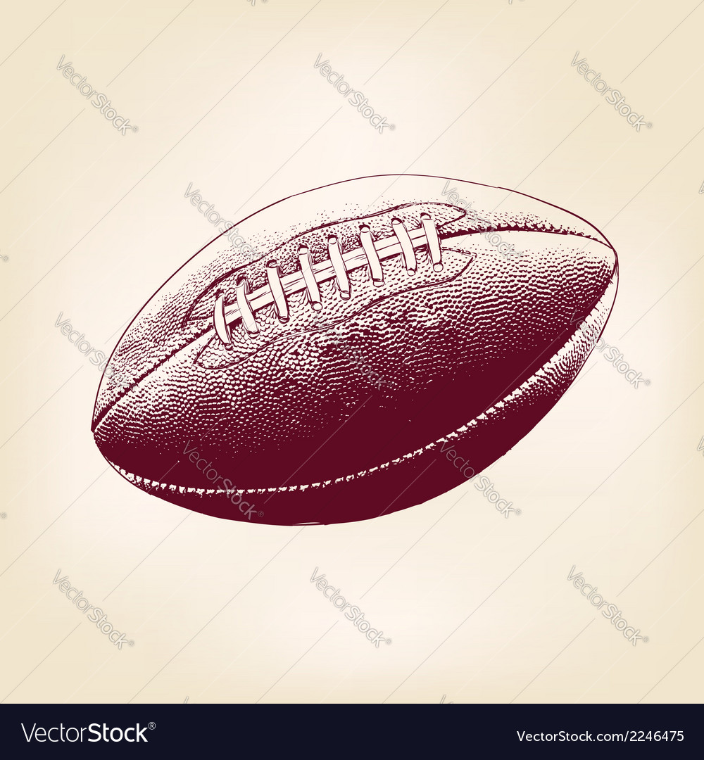 Rugby ball hand drawn llustration realistic sketch vector | Price: 1 Credit (USD $1)