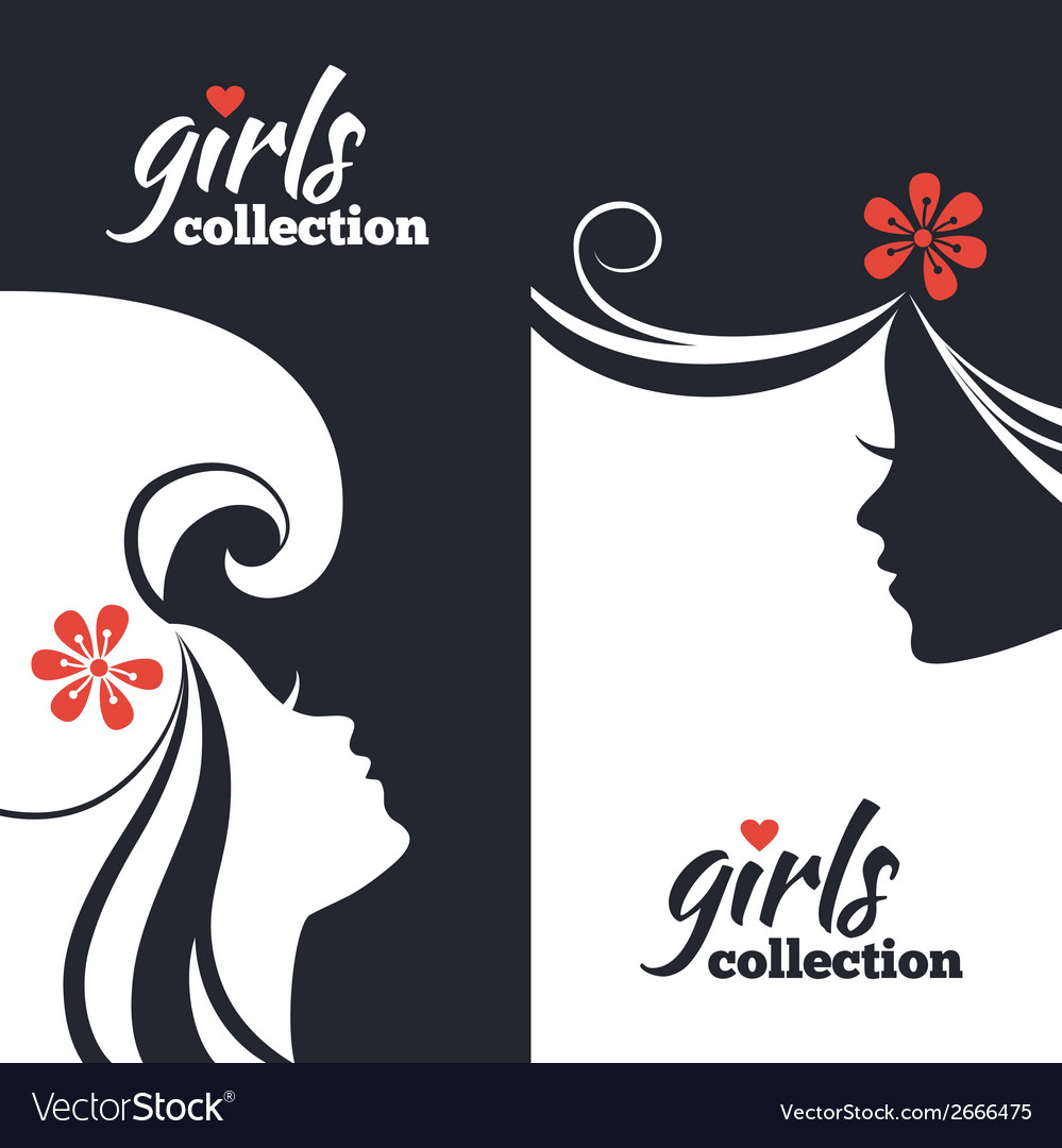 Set of beautiful women silhouettes vector | Price: 1 Credit (USD $1)
