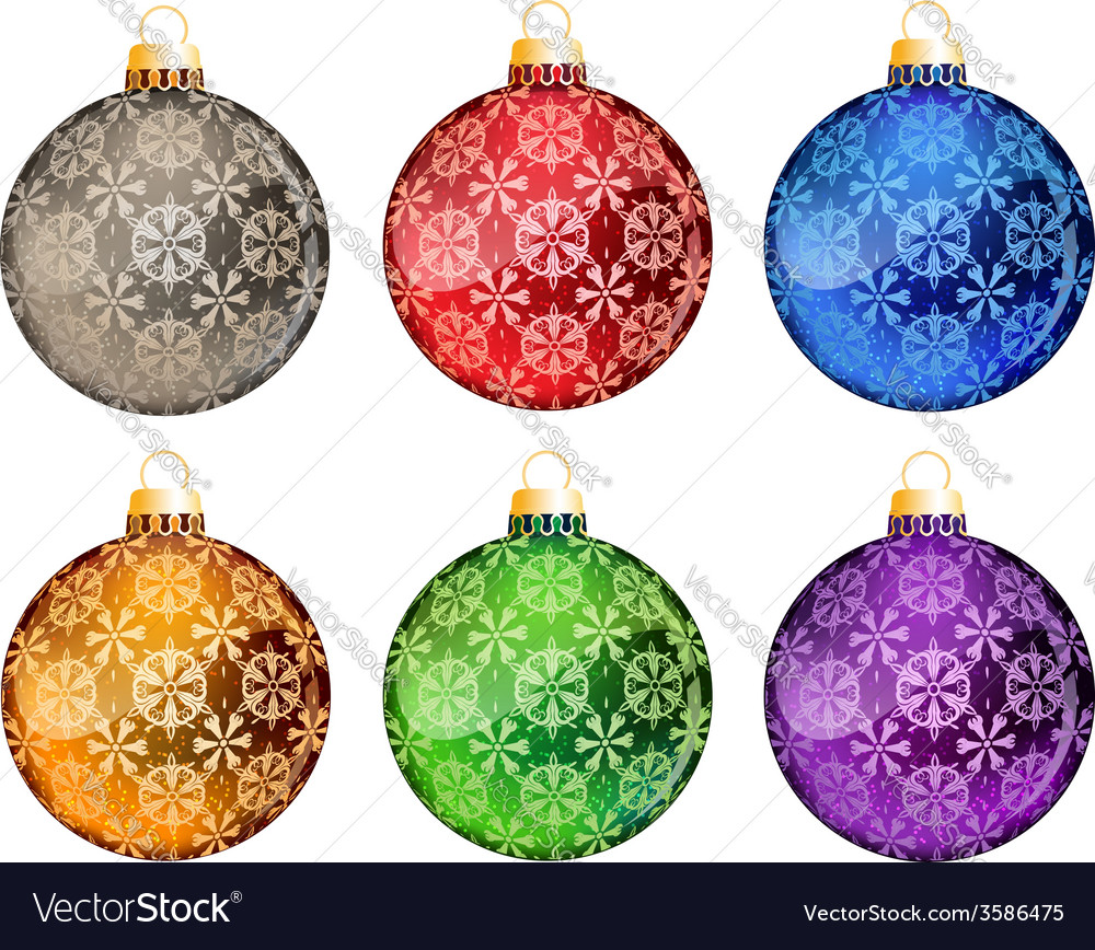 Set of christmas tree balls vector | Price: 1 Credit (USD $1)
