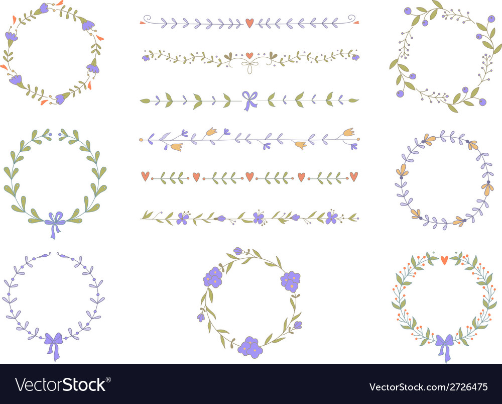 Set of hand drawn wreaths and boarders vector   Price: 1 Credit (USD $1)