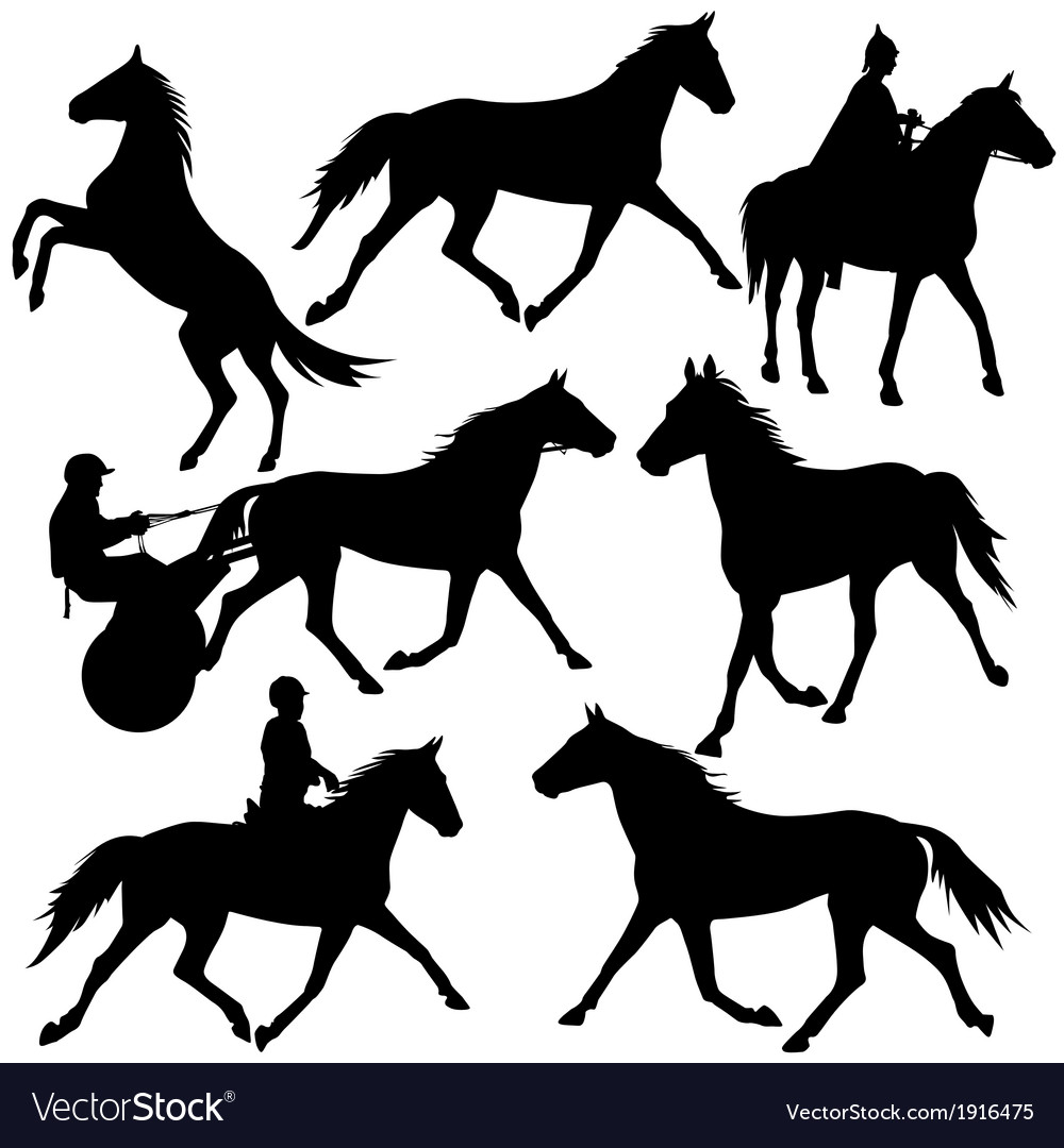 Set silhouette of horse and jockey vector | Price: 1 Credit (USD $1)