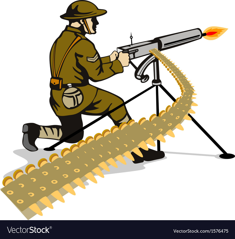 Soldier aiming machine gun vector | Price: 1 Credit (USD $1)