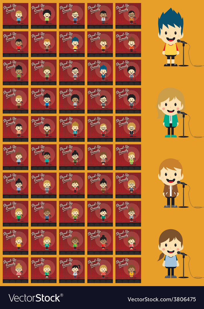 Stand up comedian cartoon character set vector | Price: 1 Credit (USD $1)