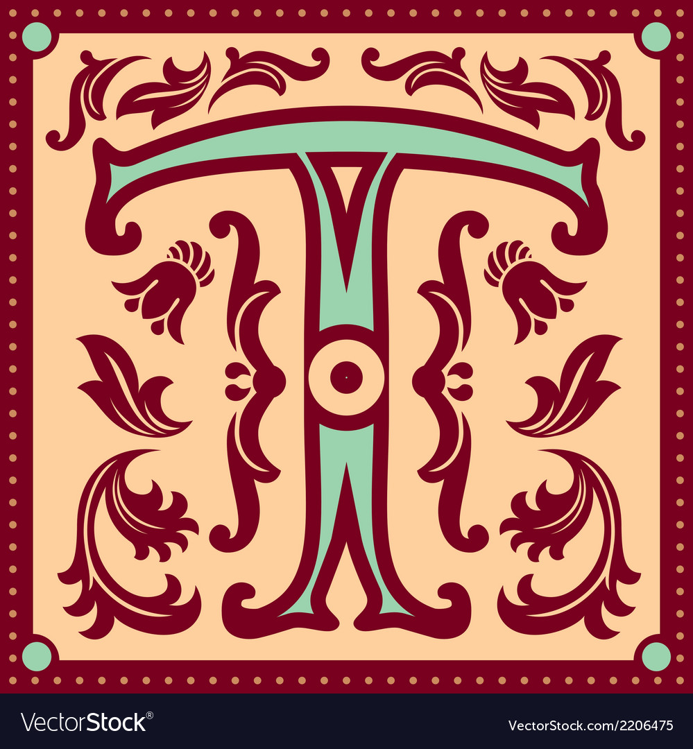 Vintage letter t vector | Price: 1 Credit (USD $1)