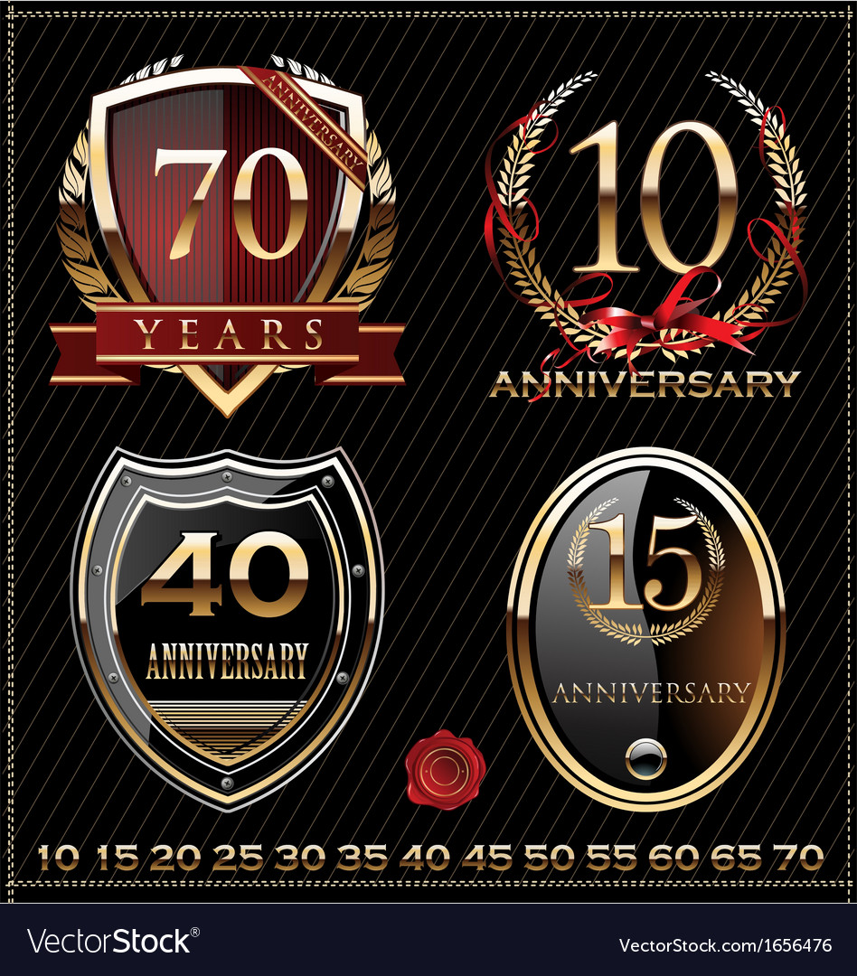 Anniversary golden labels vector | Price: 1 Credit (USD $1)