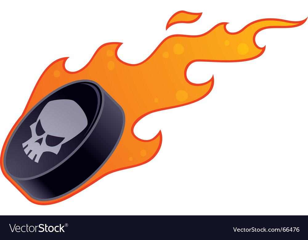 Flaming hockey puck vector | Price: 1 Credit (USD $1)