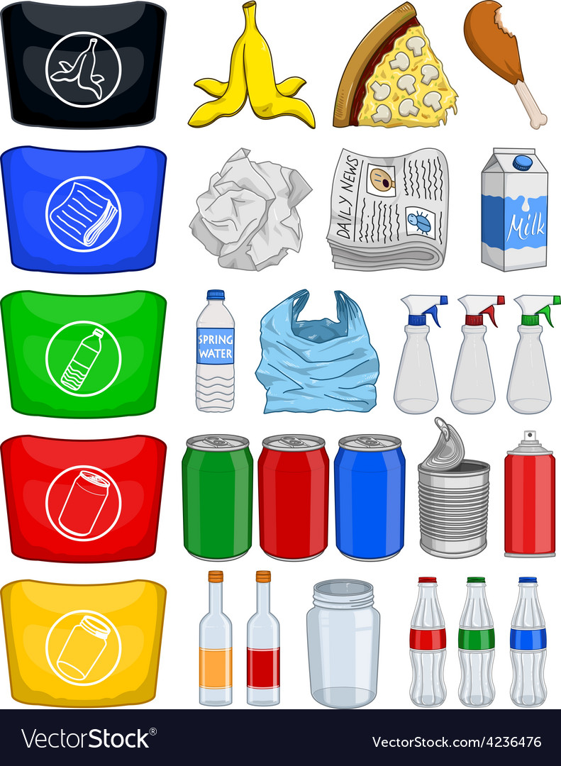 Food bottles cans paper trash recycle pack vector | Price: 1 Credit (USD $1)