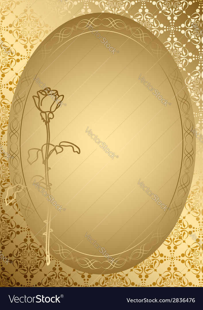 Gold romantic card with golden ornament vector | Price: 1 Credit (USD $1)