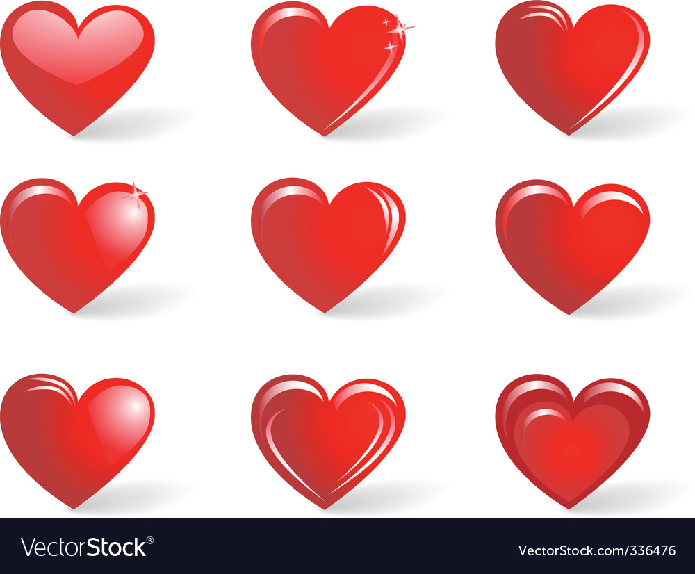 Red hearts collection vector | Price: 1 Credit (USD $1)