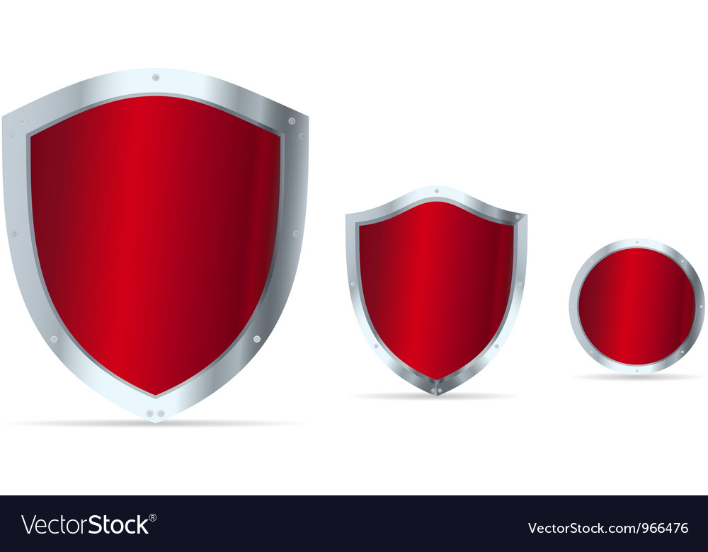 Set of blue glossy steel shields vector | Price: 1 Credit (USD $1)