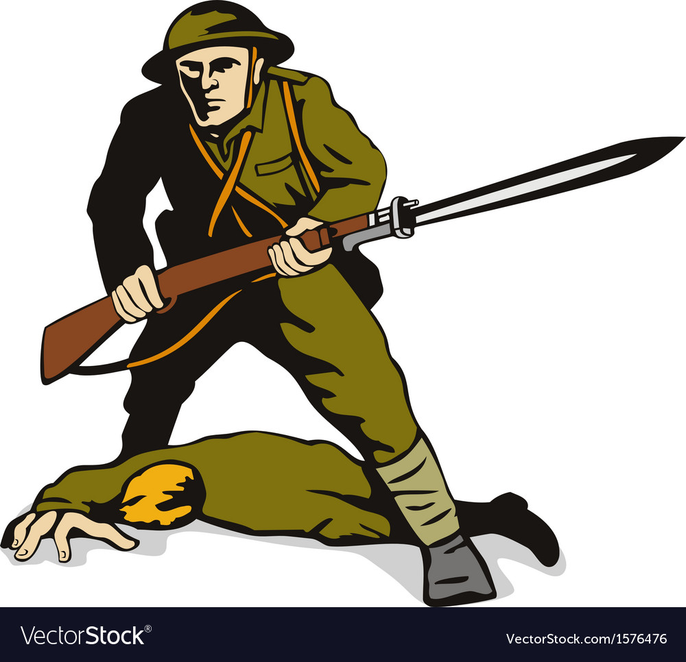 Soldier standing over body vector | Price: 1 Credit (USD $1)
