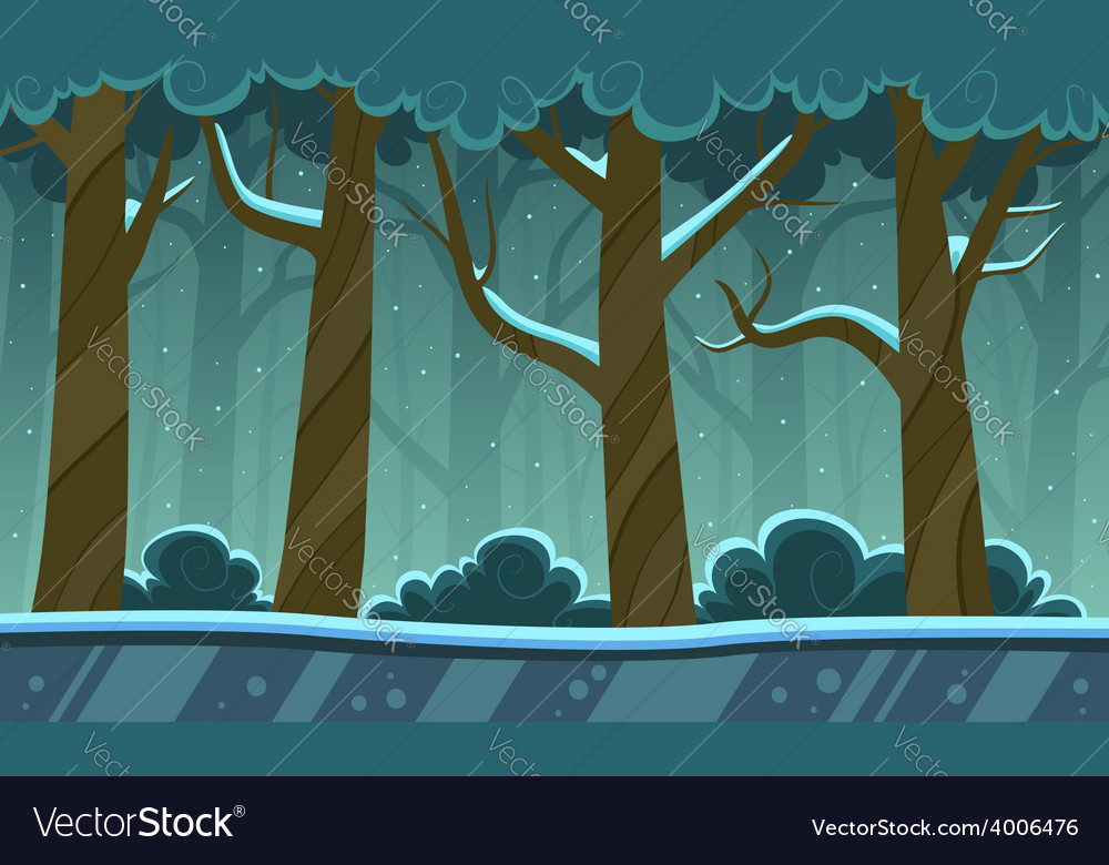 Winter forest cartoon background vector | Price: 5 Credit (USD $5)
