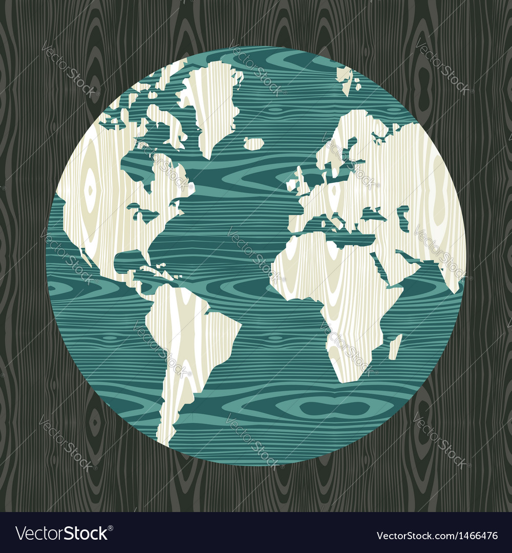 World map shape in wood vector | Price: 1 Credit (USD $1)