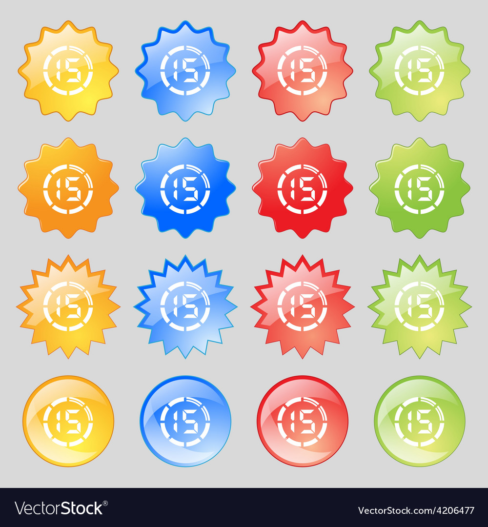 15 second stopwatch icon sign big set of 16 vector   Price: 1 Credit (USD $1)