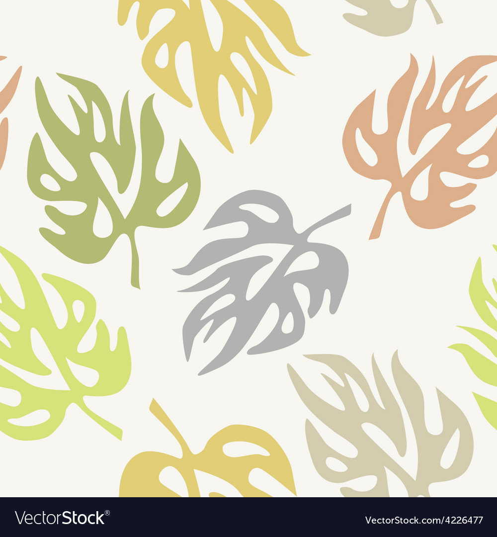 Abstract leaves on a seamless pattern wallpaper vector | Price: 1 Credit (USD $1)