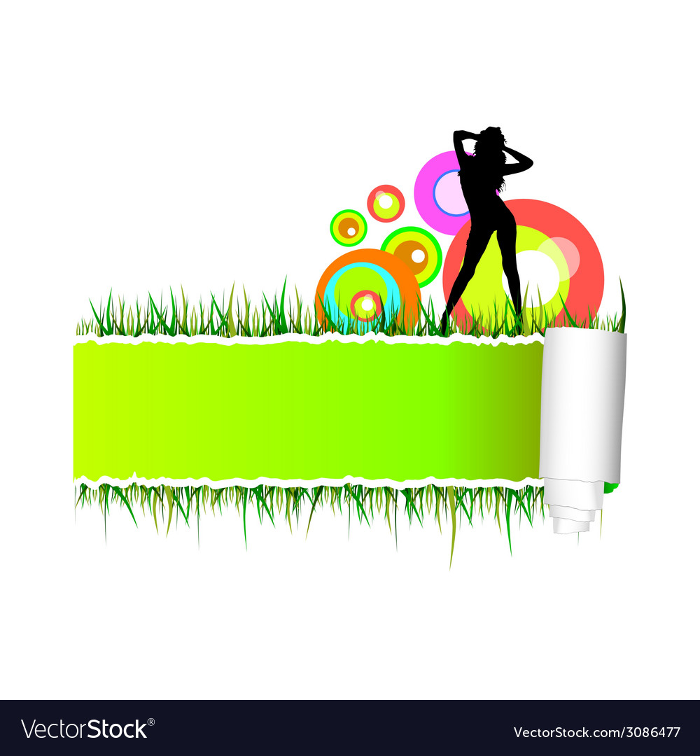 Beautiful and sexy girl on the grass vector | Price: 1 Credit (USD $1)