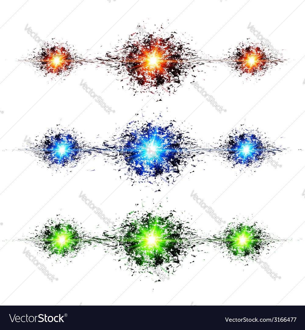 Blue green and red techno style explosions on vector | Price: 1 Credit (USD $1)