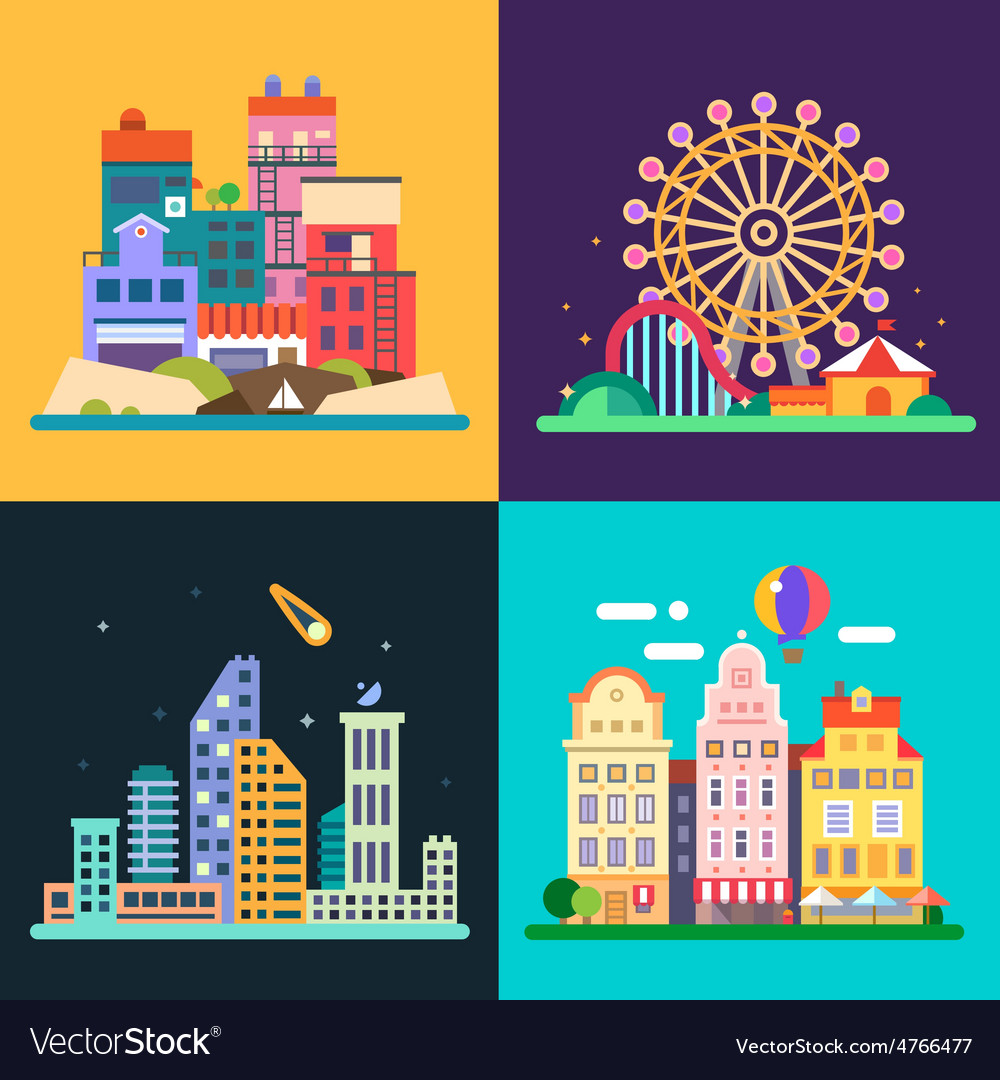 Different urban landscapes vector | Price: 1 Credit (USD $1)