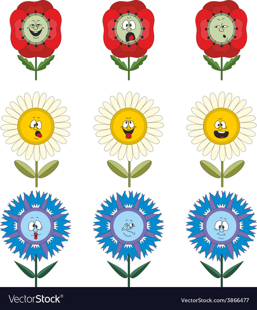 Funny flowers with different emotions 014 vector | Price: 1 Credit (USD $1)