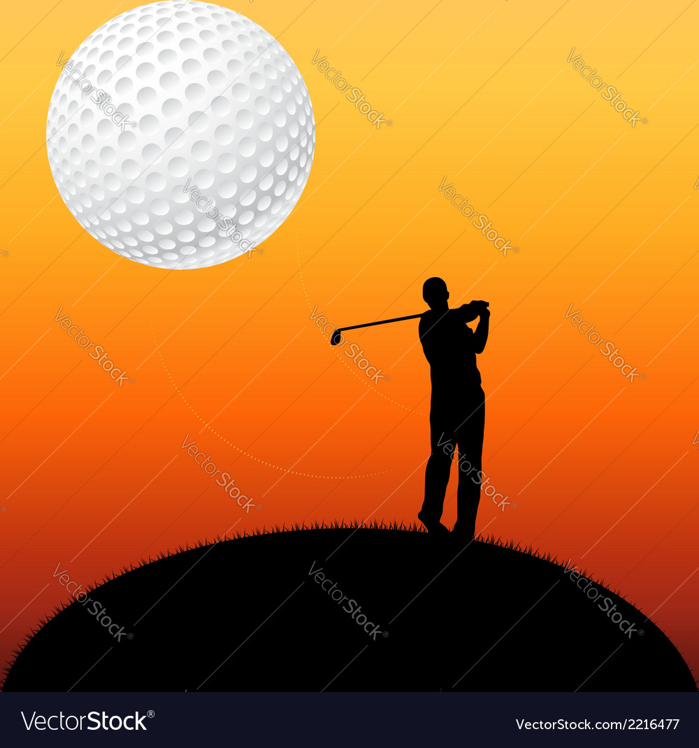 Golf player silhouette vector | Price: 1 Credit (USD $1)