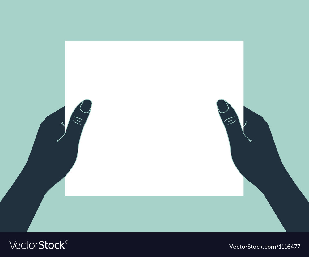 Hand holding blank paper vector | Price: 1 Credit (USD $1)