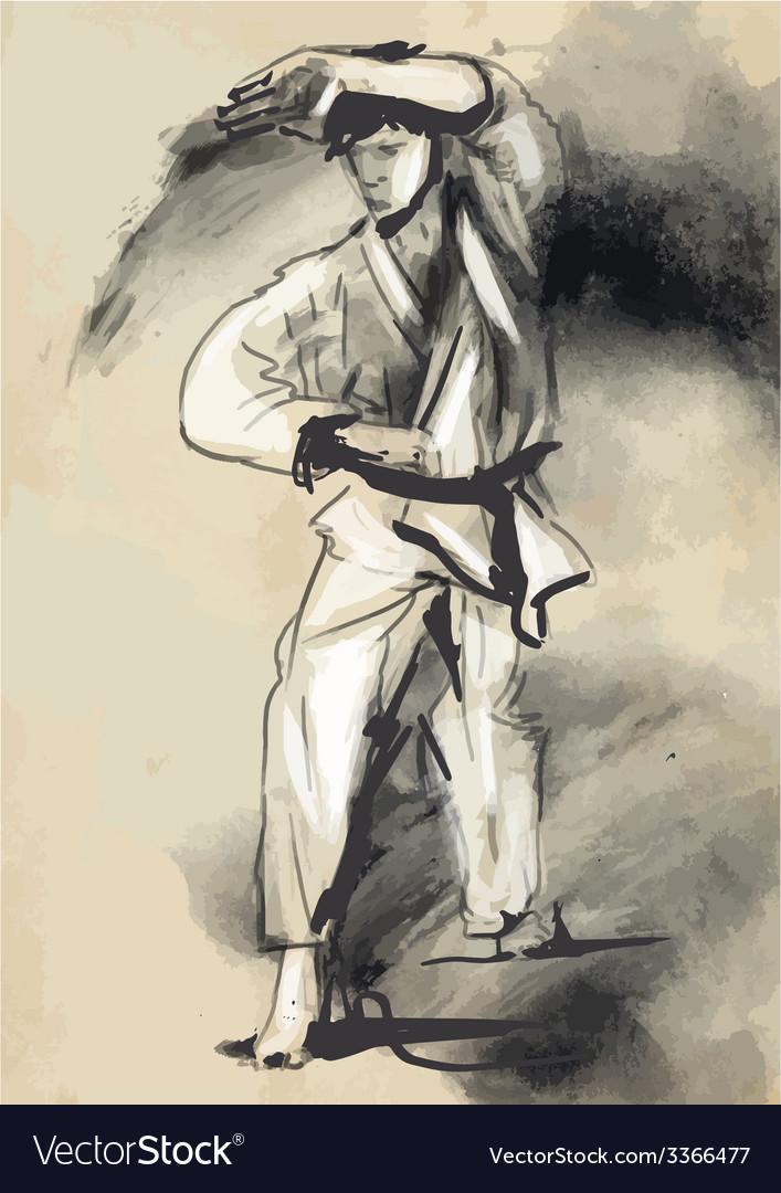 Karate - hand drawn calligraphic vector | Price: 1 Credit (USD $1)