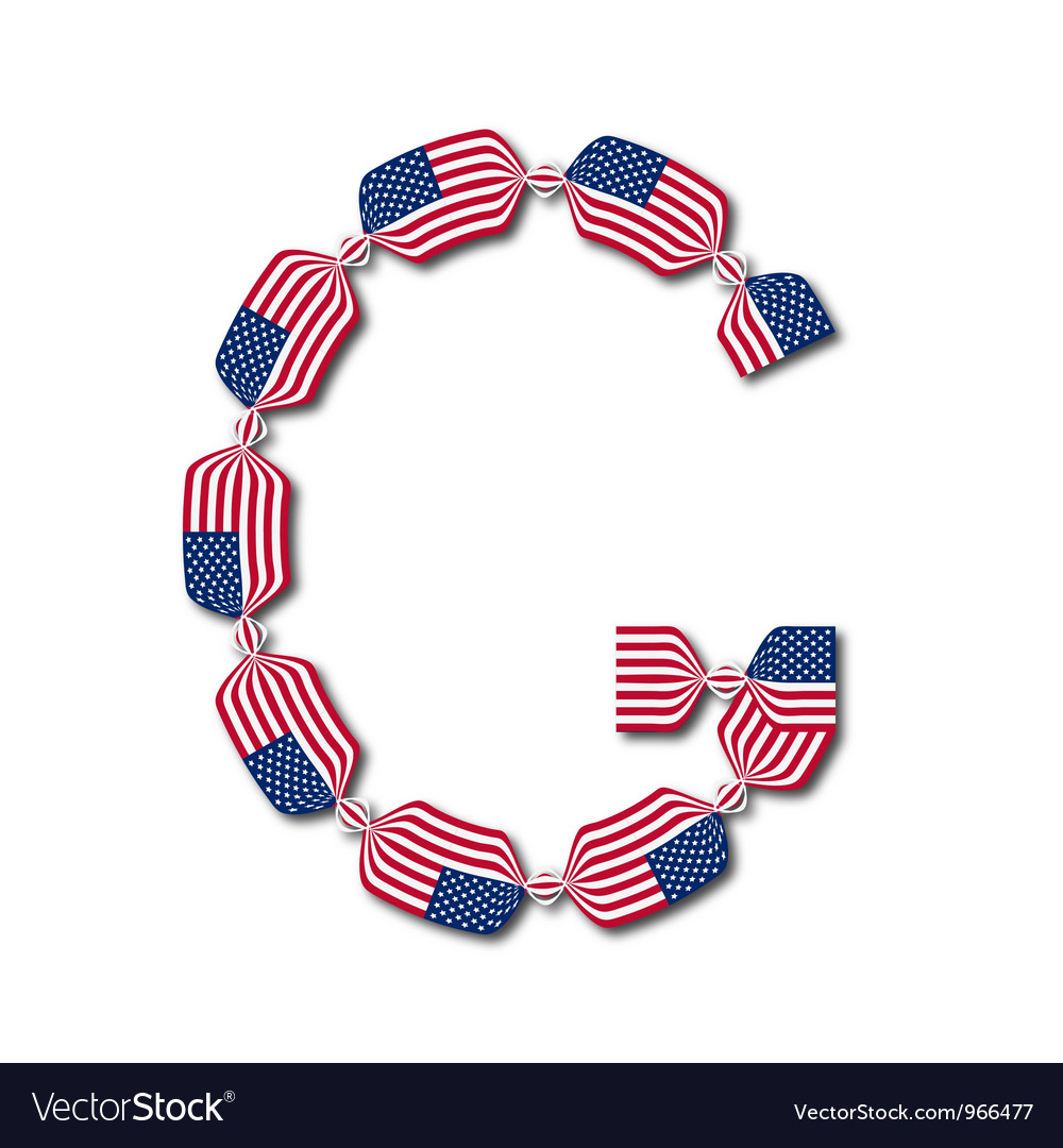 Letter g made of usa flags in form of candies vector | Price: 1 Credit (USD $1)