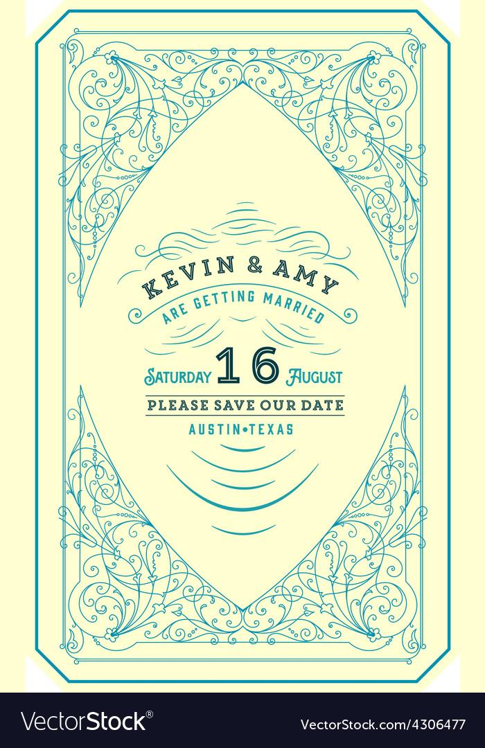 Retro wedding card vector | Price: 1 Credit (USD $1)