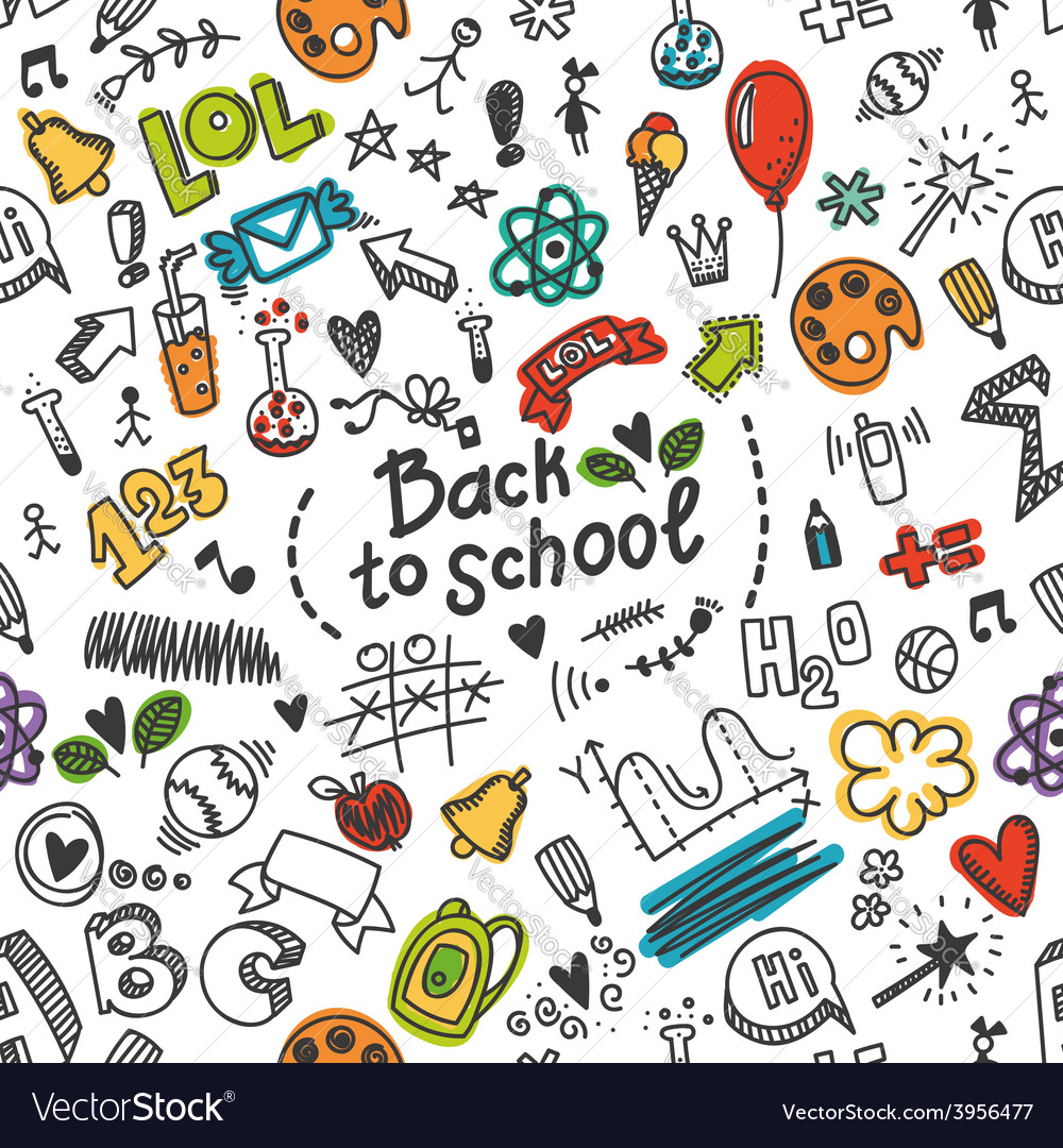 Seamless pattern with many school supplies vector | Price: 1 Credit (USD $1)