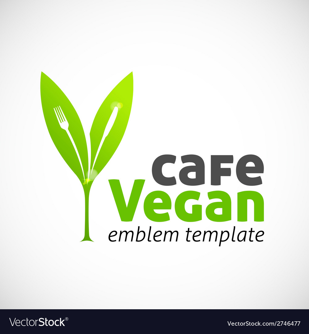 Vegan cafe concept symbol icon or logo template vector | Price: 1 Credit (USD $1)